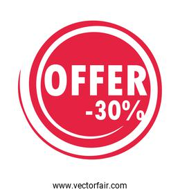 sale offer discount label design over white background