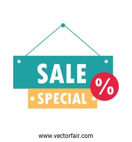 sale special offer discount sign board over white background