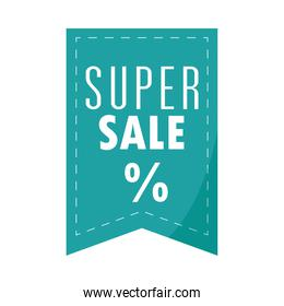 super sale offer discount banner over white background