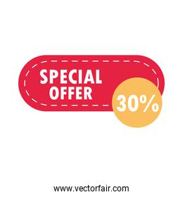 special sale offer discount marketing label over white background