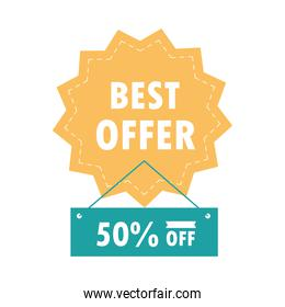 sale discount best offer sticker and hanging signboard over white background