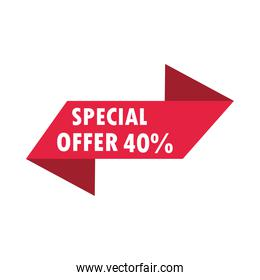 special sale offer discount advertising banner over white background