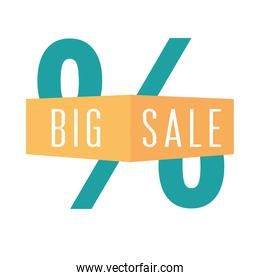 big sale offer discount coupon market over white background