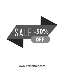 sale offer discount commerce ribbon over white background