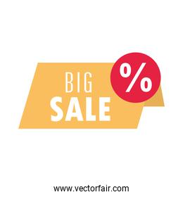 big sale offer discount label template design over white background