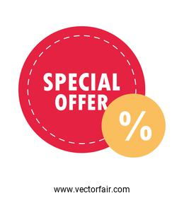 special sale offer discount round sticker layout over white background