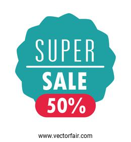 super sale offer discount commerce marketing label over white background