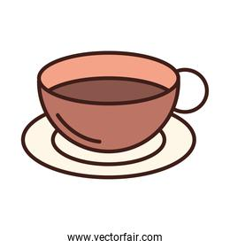 breakfast coffee cup on saucer line and fill style