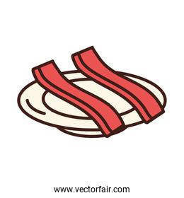 breakfast slices of bacon on saucer line and fill style