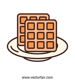 breakfast waffle on dish food line and fill style