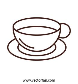 breakfast coffee cup on saucer line style