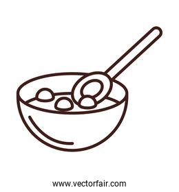 breakfast cereal in bowl with spoon line style