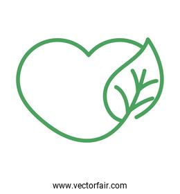 organic natural, healthy heart leaf green line style