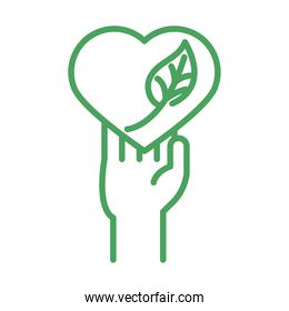 organic natural, hand with heart leaf green line style