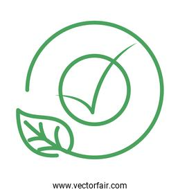organic natural, leaf check mark ecology green line style