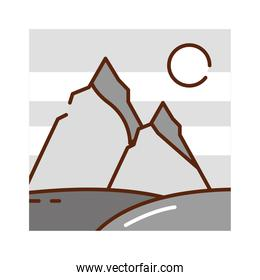 landscape night moon mountains peak nature cartoon, filled line flat colors