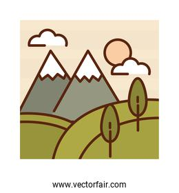 landscape snowy mountains trees and hills nature cartoon, filled line flat colors