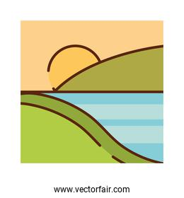 landscape valley river sky sun nature cartoon, filled line flat colors