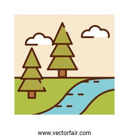 landscape forest trees river spring cartoon, filled line flat colors