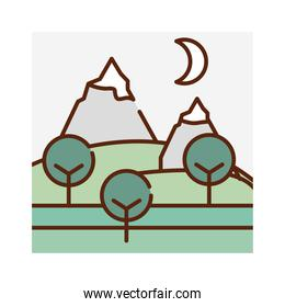 landscape peak snow mountains trees meadow nature cartoon, filled line flat colors