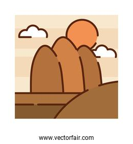 landscape desert mountains arid sun sky nature cartoon, filled line flat colors