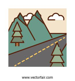 landscape asphalt route mountains trees sky nature cartoon, filled line flat colors