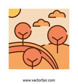 landscape autumnal trees hill sky nature cartoon, filled line flat colors