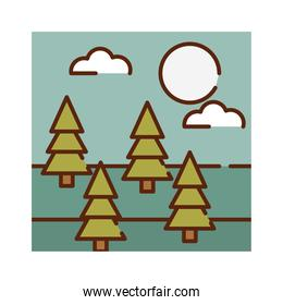 landscape nature forest pine trees sky cartoon, filled line flat colors