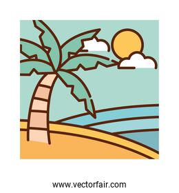 landscape tropical exotic palm sea summer nature cartoon, filled line flat colors