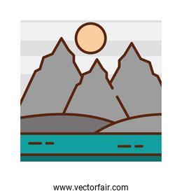 landscape mountains peak field river sky nature cartoon, filled line flat colors