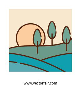 landscape field trees sun sky nature cartoon, filled line flat colors