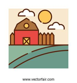 landscape farm barn field sky nature cartoon, filled line flat colors
