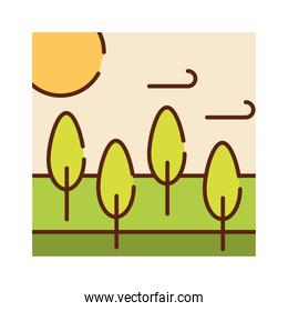 landscape forest trees meadow sky sun nature cartoon, filled line flat colors