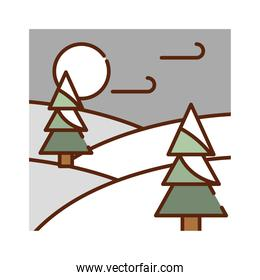 landscape winter forest trees wind cold nature cartoon, filled line flat colors