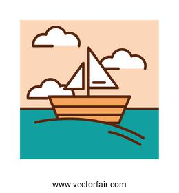landscape sea boat sky clouds nature cartoon, filled line flat colors