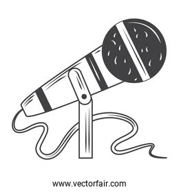 microphone audio music, sketch style design vector