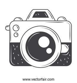 vintage photo camera object, sketch style design vector