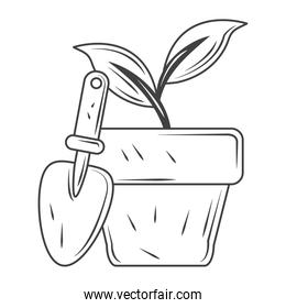 potted plant and shovel tool gardening, sketch style design vector