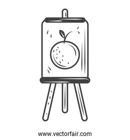 artistic paint canvas on easel, sketch style design vector