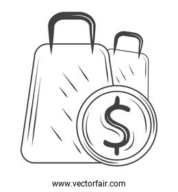 shopping bags money commerce, sketch style design vector