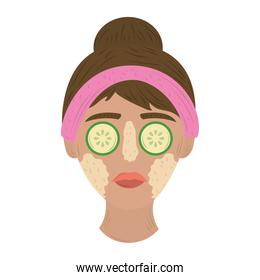 girl with purifying mask and cucumbers on eyes, care of skin daily routine