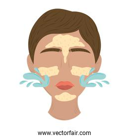 woman face applying cream skin care routine