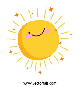 cute sun summer weather with stars cartoon