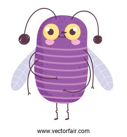 funny purple bug icon cartoon in isolated style
