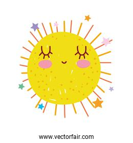 cute sun summer weather with stars   character