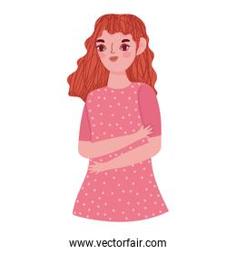 portrait girl character with dotted dress in cartoon style