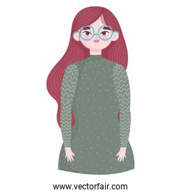 portrait girl with glasses character in cartoon style