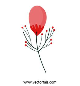 flower nature branch berries cartoon in flat style