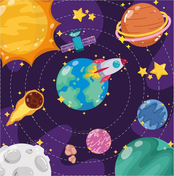 space earth planets moon sun satellite spaceship and comet cartoon