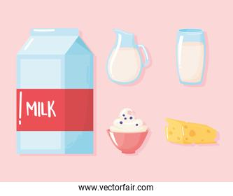 milk dairy product cartoon icons set butter, cream, beverage in box jar and glass